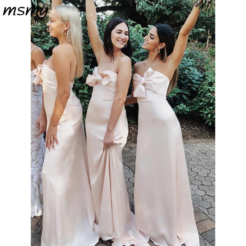 Elegant A-Line Srain   Bridesmaid     Dresses   Sweetheart Sleeveless Cheap Long   Bridesmaid     Dresses   With Bow Custom Made