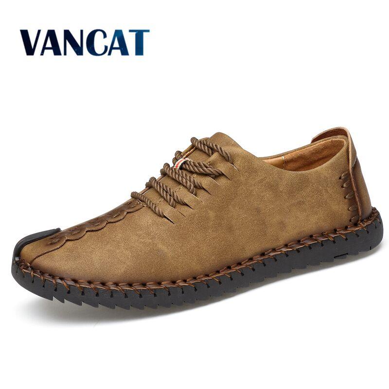 VANCAT 2018 New Comfortable Casual Shoes Loafers Men Shoes Quality Split Leather Shoes Men Flats Hot Sale Moccasins Shoes