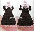 Gothic Lolita oscuridad vestido de estilo estilo de la hermana con cuello falso encaje de manga corta lindo colgante cruz Back Tie vestido negro