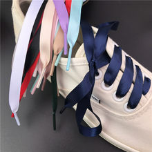 1Pair New Silk Ribbon Shoelaces Satin 1CM Width Adult 60/80/100/120/150CM Sneaker Shoes Accessories(China)