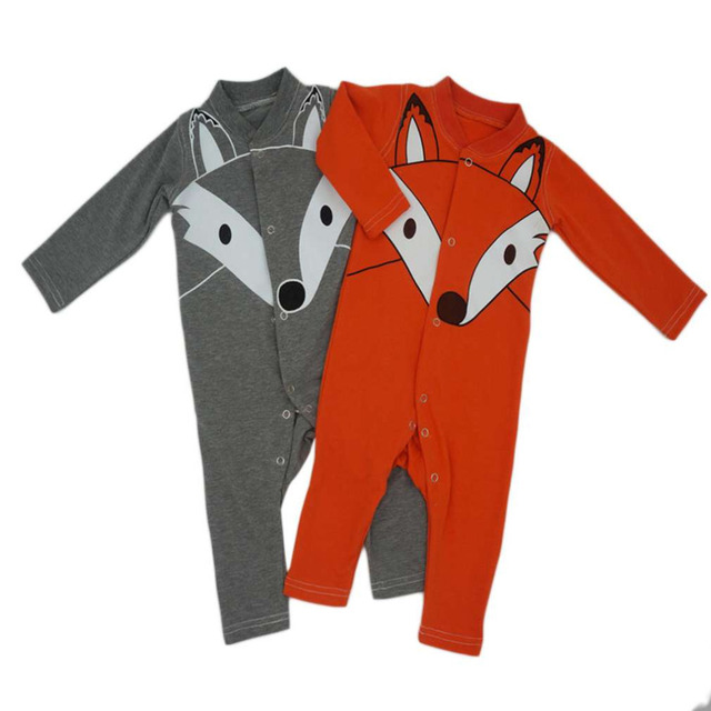 Hot! Fashionable Designborn Babies Romper Comfortable Long Sleeve Cotton Wolf Head Pattern Jumpsuits For Infant Baby Kids New