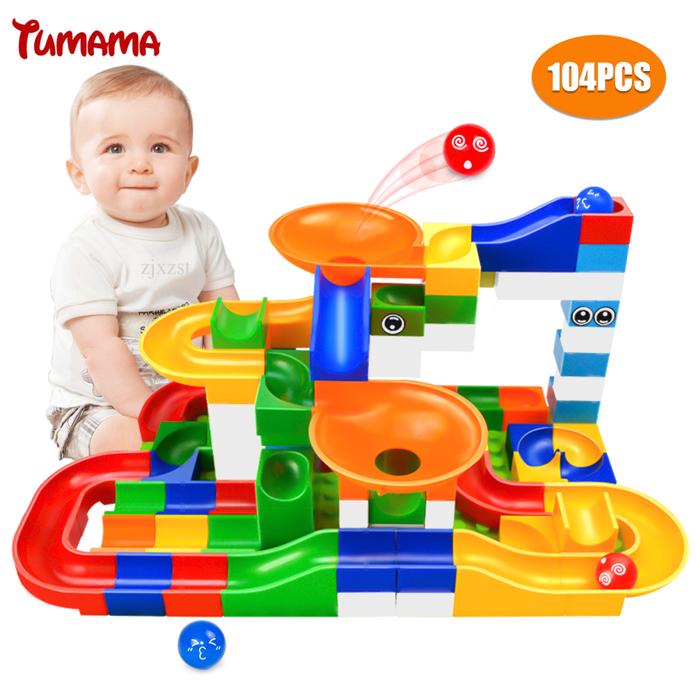 104PCS Marble Race Run Maze Ball Track Building Blocks Plastic Funnel Slide Big Size Bricks Compatible With Legoed Duplo Blocks