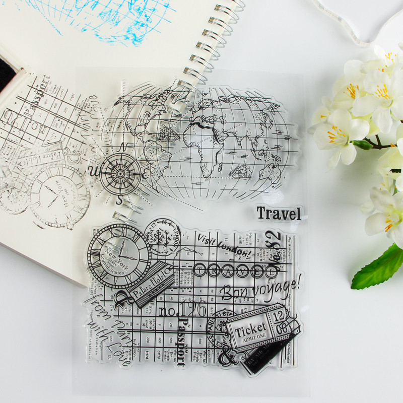 New DIY Photo Album Card Handbag Rubber Slip Finished Seal World Map Transparent Seal Stamp scrapbook diy photo album card hand account rubber seal product seal transparent seal stamp cat