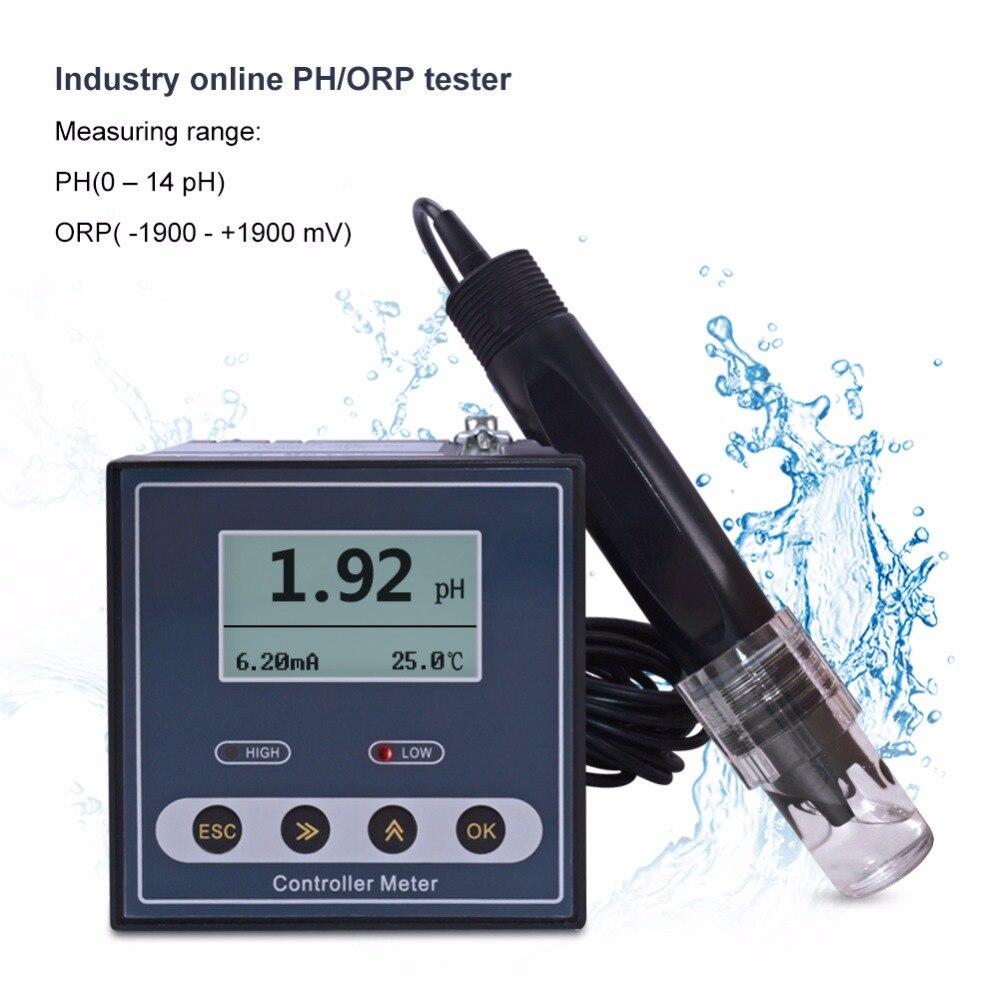 2018 Novo Controlador de ORP Medidor de PH Industrial Online Monitor Digital 0.02pH 1mV Controle de Alarme de Limite Superior e Inferior de pH Testador
