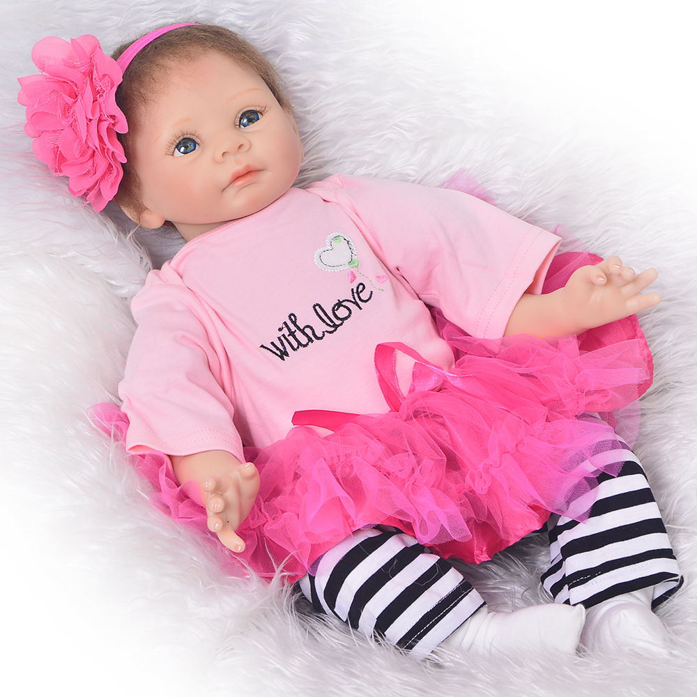 Lifelike Silicone Vinyl Reborn Baby Dolls For Sale 55 cm Realistic 22'' Newborn Dolls Cloth Body Touch Real Kids Playmates Toys 23 lifelike reborn baby full silicone body baby born girl vinyl baby toys real newborn dolls hot sale kids playmates gifts