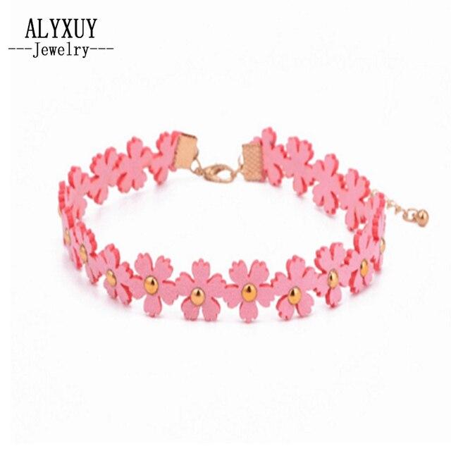 Hurtownie Nowy biżuteria flower leather choker naszyjnik mix kolor prezent dla kobiety dziewczyna N1804