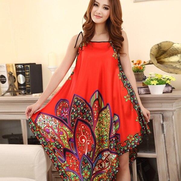 Cosy Fashion Women Imitated Silk Lingerie Nightgowns Sleepwear Bath Robes Lady Night Sleepshirts