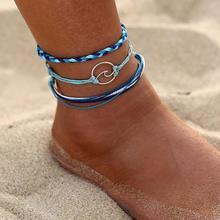 d2b40ce1ed36c 3 قطعة المجموعة متعددة طبقة النساء حبل بوهو الشاطئ خلخال اليدوية البحر موجة  سوار