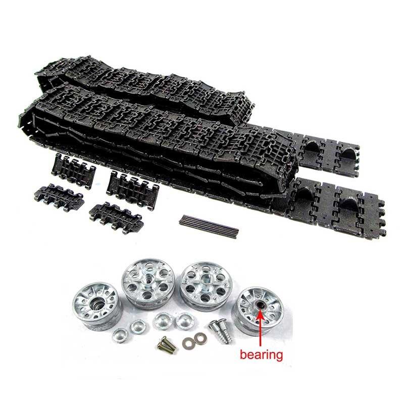 Mato 1:16 faixas de metal & etal rodas dentadas rodas de metal inativos com rolamento kit para 1:16 1:16 2.4 GHeng Longa Russa t-34/85 tanque RC