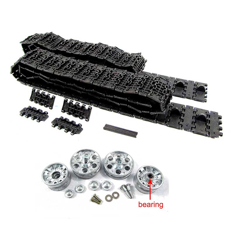Mato 1:16 metal tracks & etal sprockets metal idler wheels with bearing kit for 1:16 1:16 2.4GHeng Long Russian T-34/85 RC tank knl hobby heng long russian t 90 1 16 scale 2 4ghz r c main battle tank 3938 1 ultimate metal version metal gear tracks somke