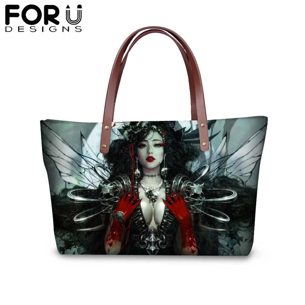 FORUDESIGNS Gótico Arte Impressão Bolsa de Ombro Sacolas Bolsas para As Mulheres Menina Escuro Senhoras Femme Grande Capacidade Saco de Compras Bolsa