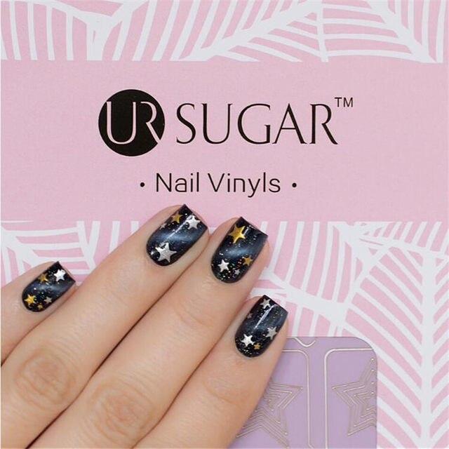 Online Shop UR SUGAR 2 Patterns Adhesive Nail Vinyls Hollow Floral ...