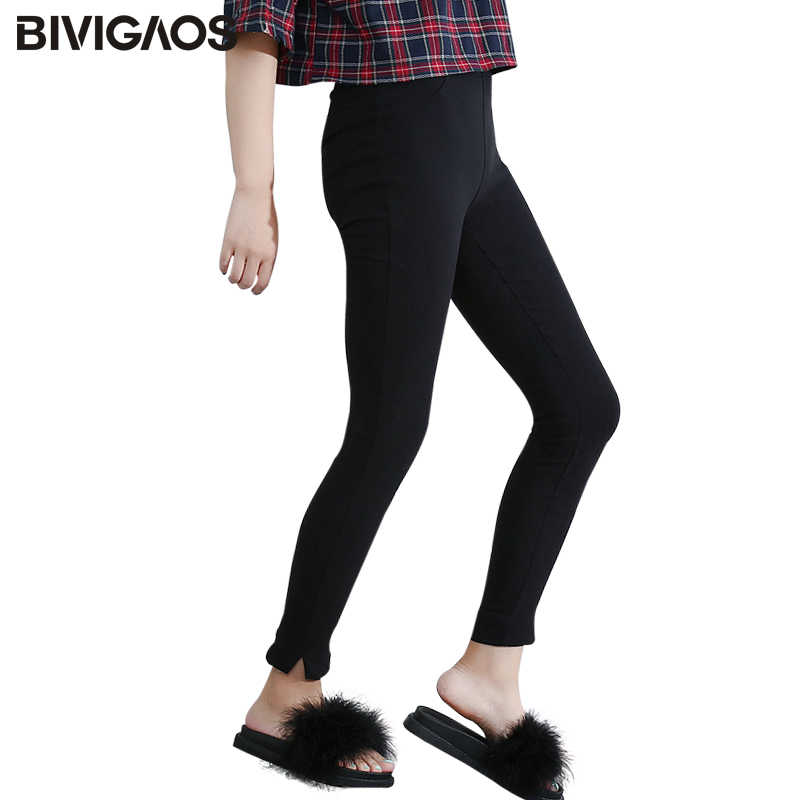 34bf11e0d92 BIVIGAOS Для женщин модные тонкие девятого штаны черные Обтягивающие  Леггинсы карандаш брюки лодыжки Разделение фуллерные штаны