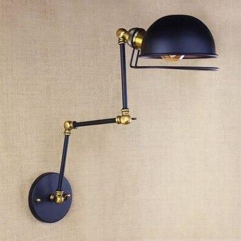 Thiết kế cổ điển antique đen retro điều chỉnh đầu đu tường cánh tay đèn đèn đồn nhỏ cho phòng làm việc cạnh giường bedroom tường Lights