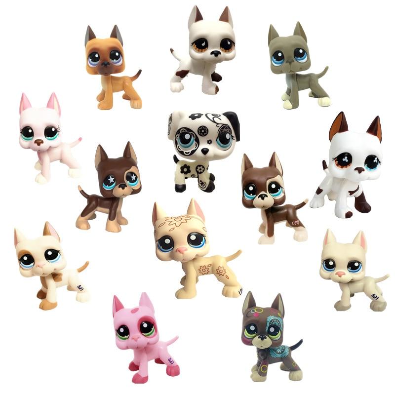 Rare Lps Pet Shop Toy DobermanCockerSpaniel PinkDog Black Short Hair Cat Collection Action Standing Role Playin Children'sGift