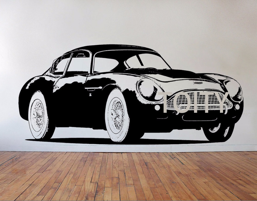 db4 aston martin car wall sticker vintage automobile vinyl decal home room interior art decor. Black Bedroom Furniture Sets. Home Design Ideas