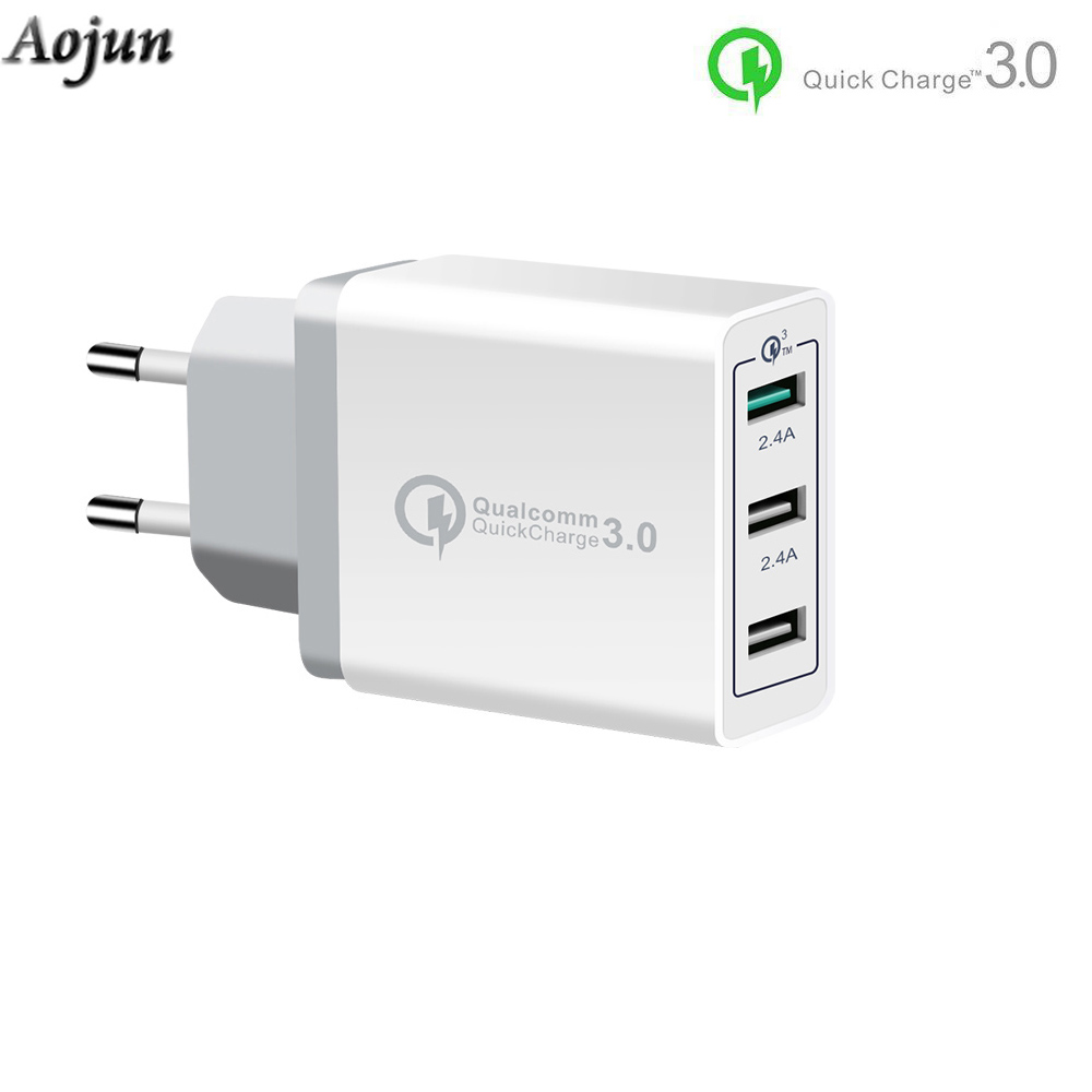 3 Ports Quick Charger QC 3.0 30W USB EU Plug Charger For iPhone Samsung Xiaomi OnePlus 6 Fast Charger QC3.0 White