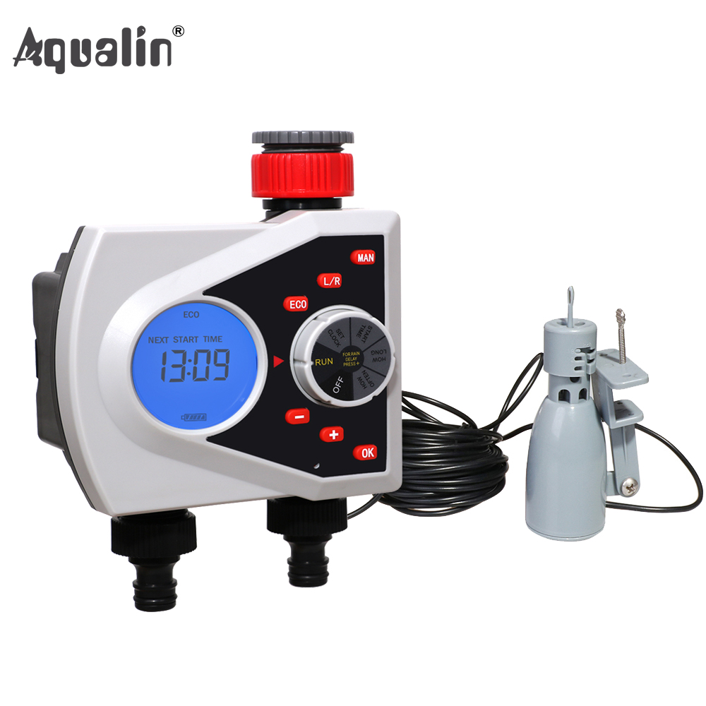 Two Outlets Garden Automatic Watering Timer Digital Electronic Solenoid Valve Sprinkler Timer 21076 and Rain Sensor
