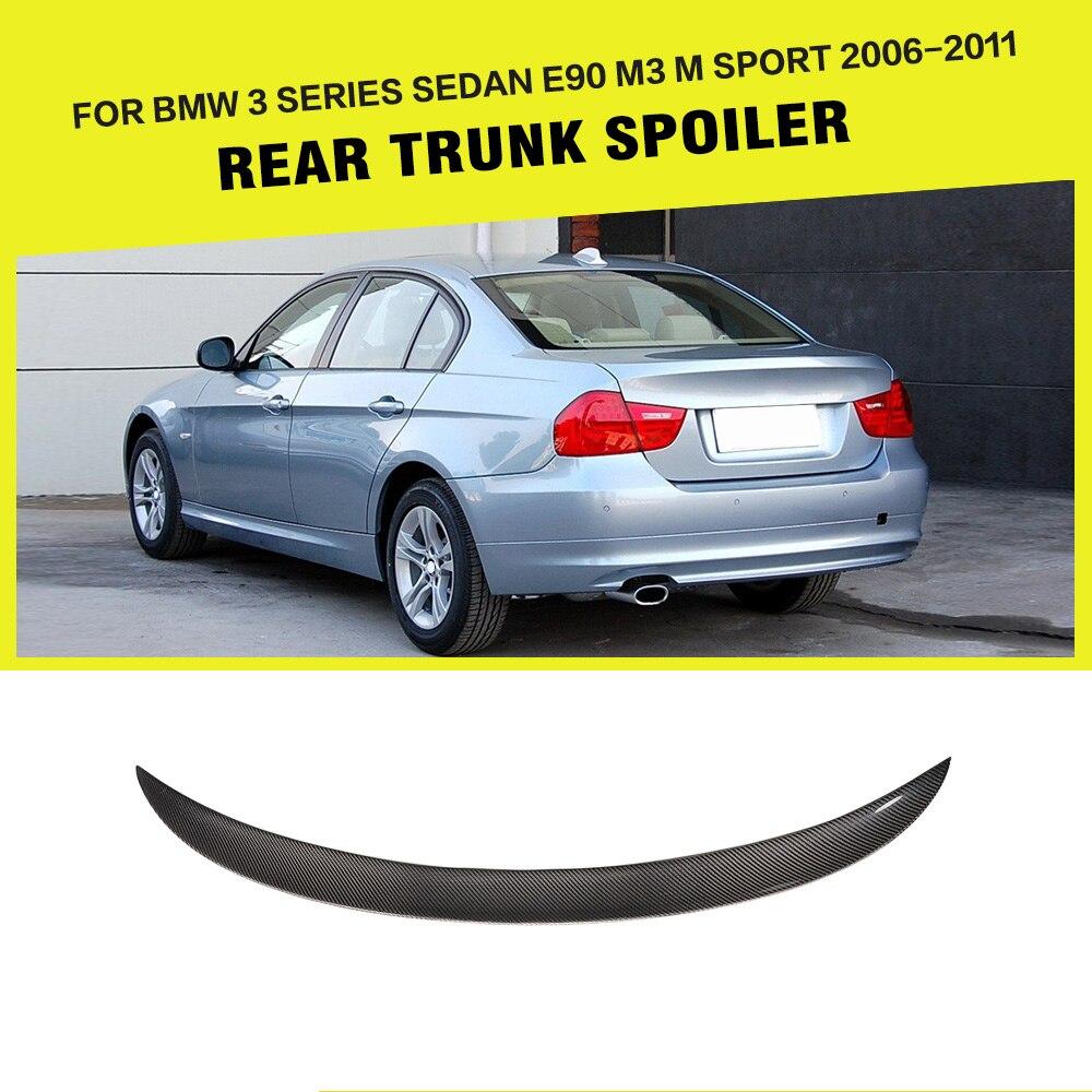 Car-Styling Carbon Fiber Rear Wing Lip Spoiler for BMW 3 Series E90 Base Sedan M Sport M3 4 Door 2006 - 2011 z art e90 m3 style 4d sedan automotive spoiler carbon fiber for bmw e90 2005 2008 car styling high quality