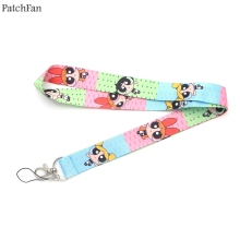 Patchfan The Powerpuff Girls cartoon lanyards neck straps for phones keys bead id card holders keychain webbing A0842