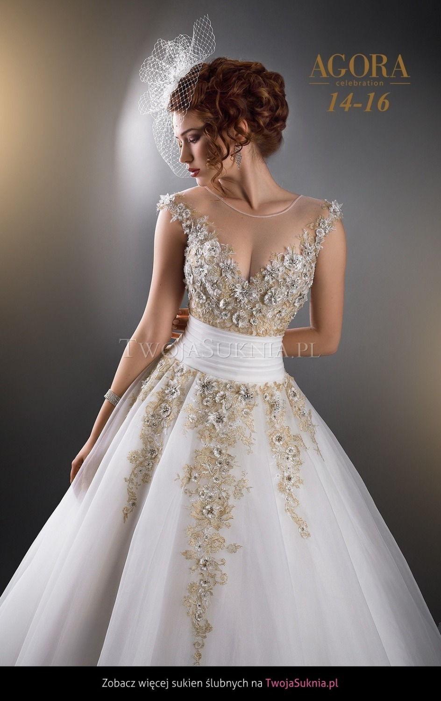 White Wedding Dress With Gold Beading