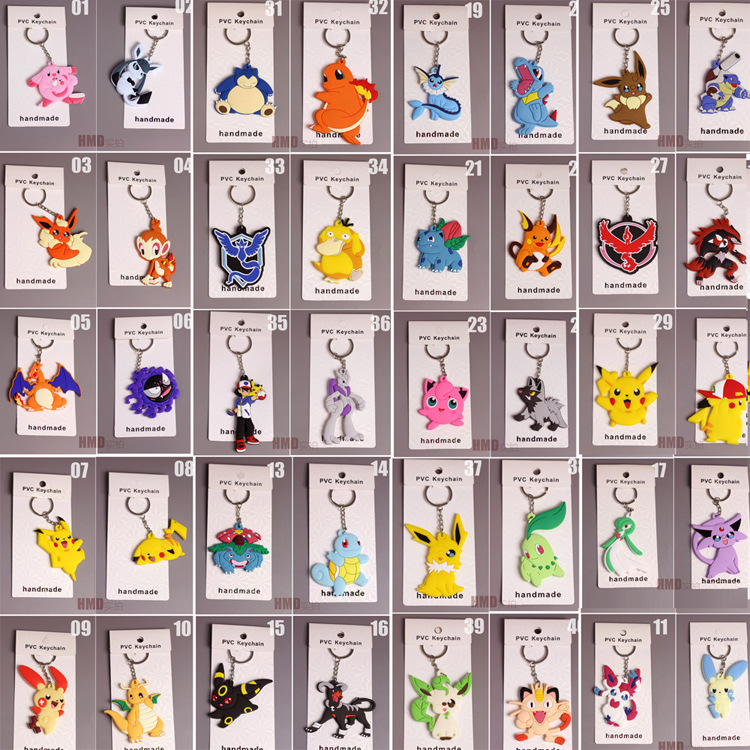 Zoeber 40pcs/set Pokemon Go Keychain Doll Toy Cute Anime Pocket Monsterr Meowth Psyduck RAICHU Pendants Rubber Keyring Child