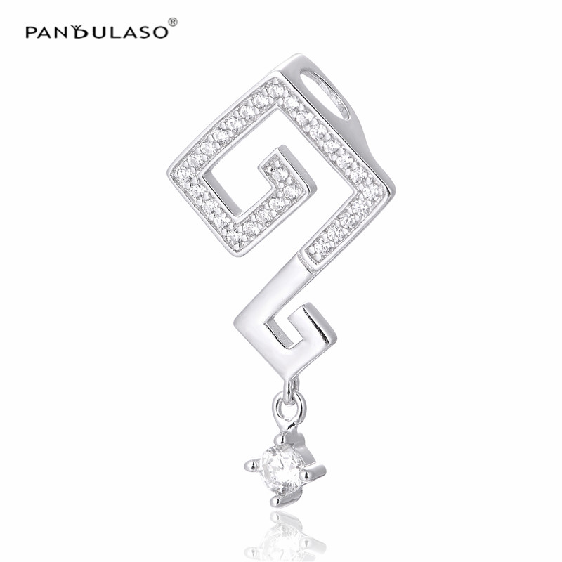 Pandulaso Sterling-Silver-Jewelry Clear CZ Crystal Life Question Mark Pendants for Choker Necklaces Women Silver 925 DIY Jewelry