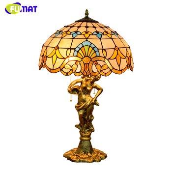FUMAT Tiffany Barocco Lampada Da Tavolo Paralume Home decor Arte Creativa Stained glass Lampade Da Tavolo per Soggiorno Comodino Da Tavolo A LED lampada