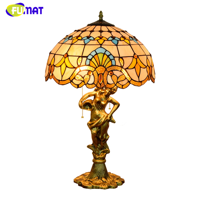 FUMAT Tiffany Baroque Shade Table Lamp Home decor Creative Art Stained glass Table Lights for Living Room Bedside LED Table Lamp fumat classic table lamp european baroque stained glass lights for living room bedside table light creative art led table lamps