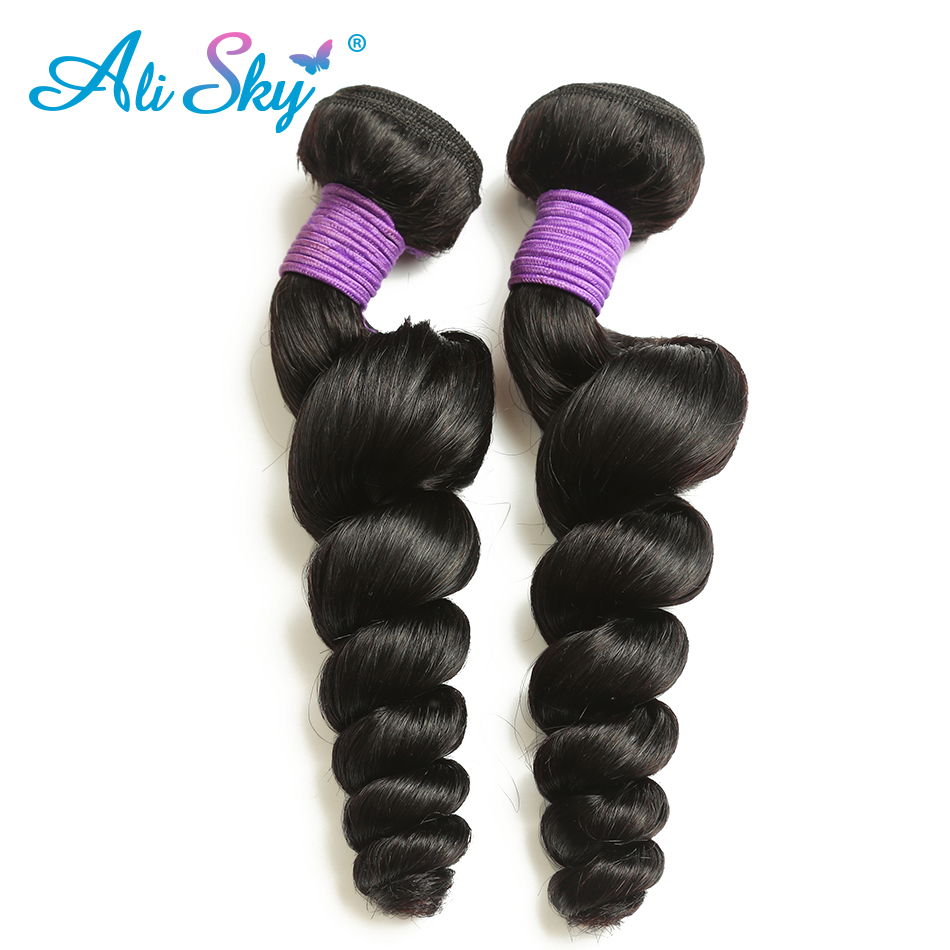 Ali Sky Hair Loose Wave Peruvian Remy Hair Weave Bundles 100% Human Hair 1pcs 8-26 inch can be permed can be curled