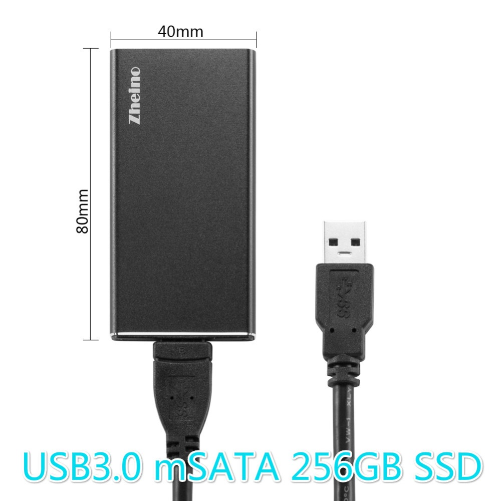 Zheino P3 USB3.0 Portable External 64GB 128GB 256GB SSD Aluminum Case mSATA Solid State Drive for laptop notebook PC usb flash drive 256gb kingston hyperx savage hxs3 256gb