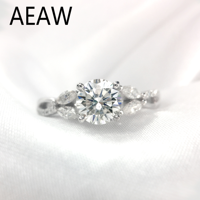 1 Carat ct 6.5mm D color Round Cut Engagement&Wedding Moissanite Diamond Ring Double Halo Ring