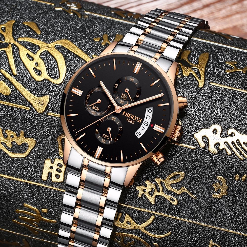 Relojes de hombre NIBOSI Relogio Masculino, relojes de pulsera de cuarzo de estilo informal de marca famosa de lujo para hombre, relojes de pulsera Saat 14
