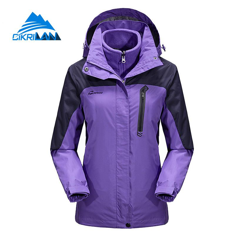 Winter Windstopper Hiking Camping Outdoor Sport Jacket Women 3in1 Skiing Climbing Casacos Warm Coat Trekking Chaquetas Mujer new outdoor sport windbreaker waterproof jacket men hiking camping skiing climbing winter coat fleece lining jaqueta masculino