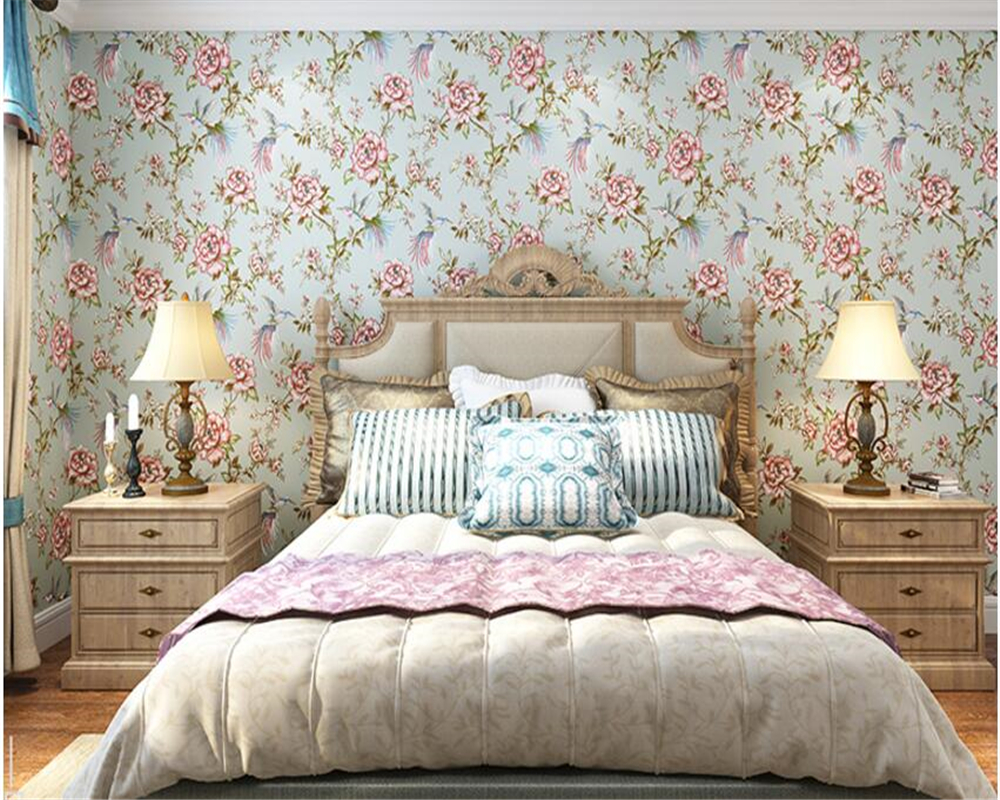beibehang Fresh garden flowers and birds American country 3d wallpaper bedroom living room background porch nonwoven wall paper the hermitage birds and flowers