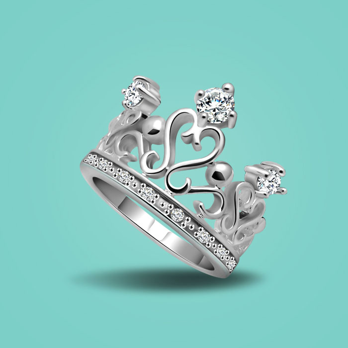 charm female 925 sterling silver ring noble zircon inlaid crown design ring lady popular jewelry solid silver ring birthday