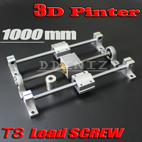 HOT sale 3D Printer guide rail sets T8 Lead screw length 1000mm + linear shaft 8*1000mm + KP08 SK8 SC8UU+ nut housing +coupling