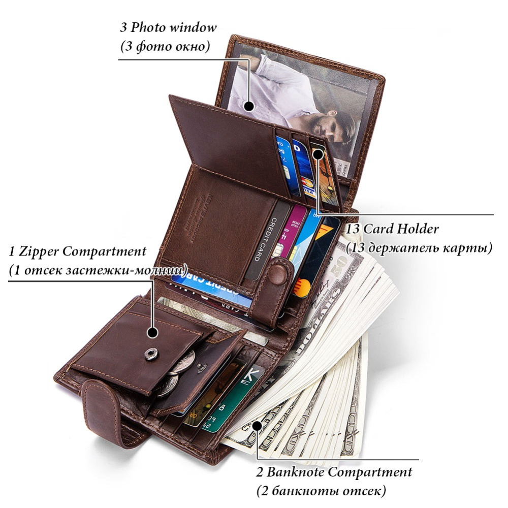 KAVIS Free Engraving 100% Genuine Cow Leather Men Wallet Crazy Horse Coin  Purse Portomonee Walet PORTFOLIO Cuzda Card Holder