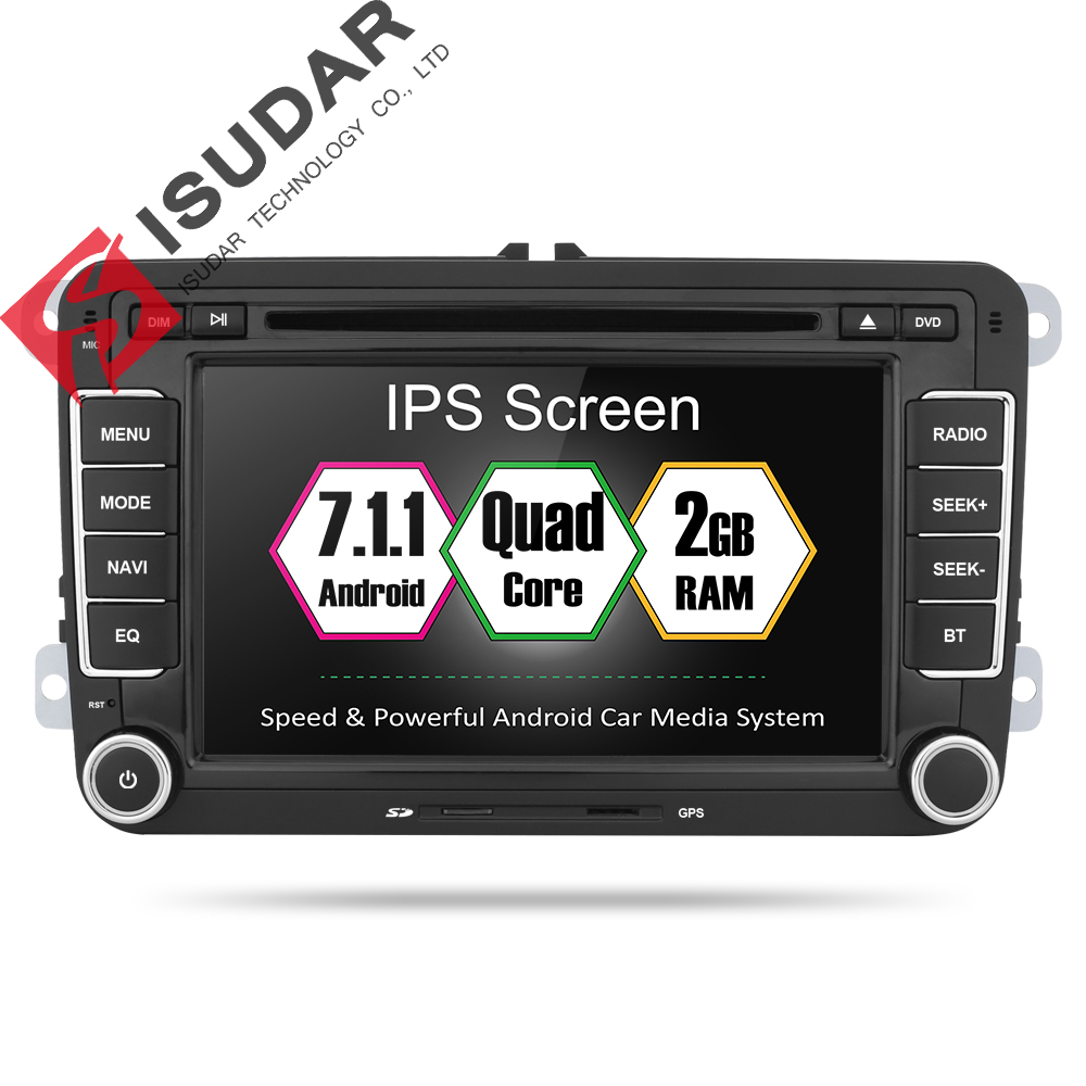 Isudar Voiture Multimédia Lecteur 2 Din Auto DVD Android 7.1 Pour VW/Volkswagen/Golf/Polo/Tiguan /Passat/CC/Seat/Skoda 4 Core Radio GPS