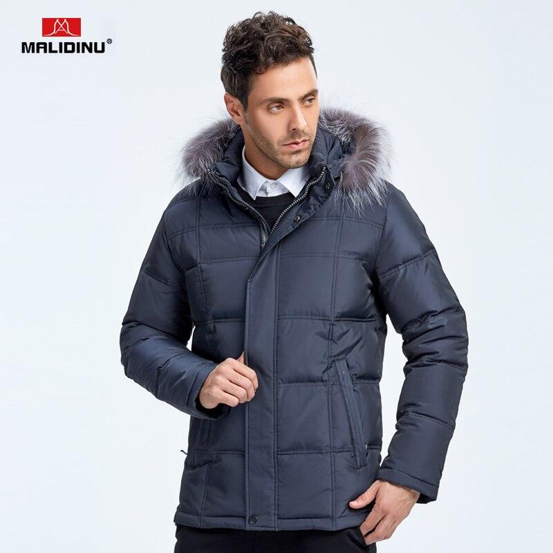 MALIDINU 2018 New Men Down Jacket Brand 70% White Duck Down Winter Jackets Mens Down Coat Parka Fox Fur Collar Free Shipping