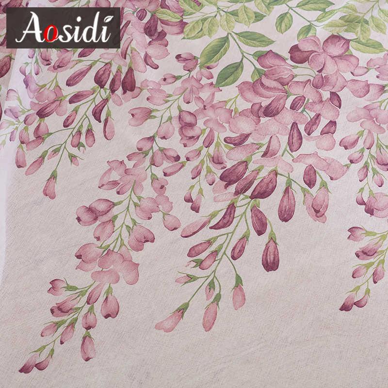 AOSIDI цветы глицинии дизайн домашний декор современные тюлевые шторы для гостиной спальни оконные занавески светопередача