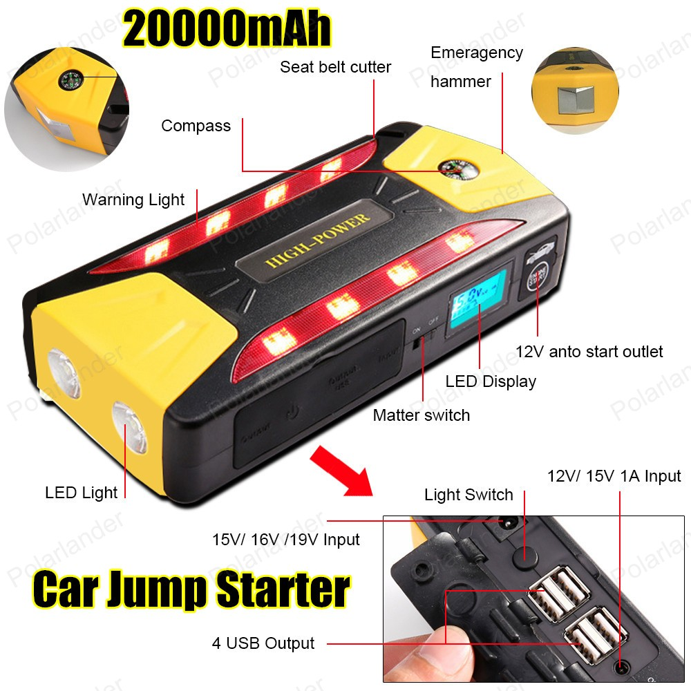 ФОТО Multifunction AUTO Emergency Start Battery Charger Engine Booster 15000mAh Car Jump Starter Power Bank For 12V Battery Pack