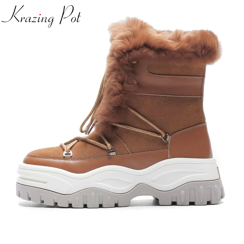 цена krazing pot cow suede natural rabbit fur snow boots lace up luxury thick bottom waterproof sweet lady gorgeous ankle boots L30 в интернет-магазинах