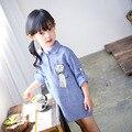 2-8 Anos de Idade Meninas Vestido Primavera Outono Moda Traje Bonito do Gato Preto e Branco Listrado Longo-Vestido de Mangas Compridas Roupa dos miúdos Roupas de Menina