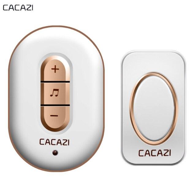 CACAZI Wireless Door Bell Waterproof Doorbell 280M Long Range Smart Home Door  Chime US EU AU