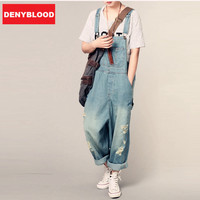 Boyfriend Jeans For Women 2016 Fashion Womens Distressed Jeans Ripped Denim Overalls Distroyed Loose Style Bibs