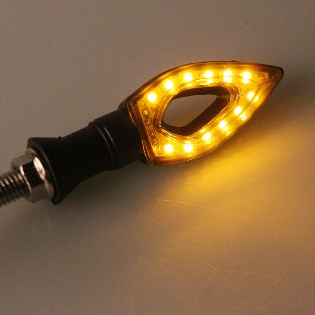 Onever 4Pcs Flashing Motorcycle LED Turn Signal Light Headlight 12 Led Indicator Light Rhombus Hollow Amber Blinker Lamp