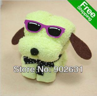 New Arrival~Free Shipping 20pcs/lot Many Colors Novelty Cotton Towel Cartoon toys sunglass dog towel christmas kids gift