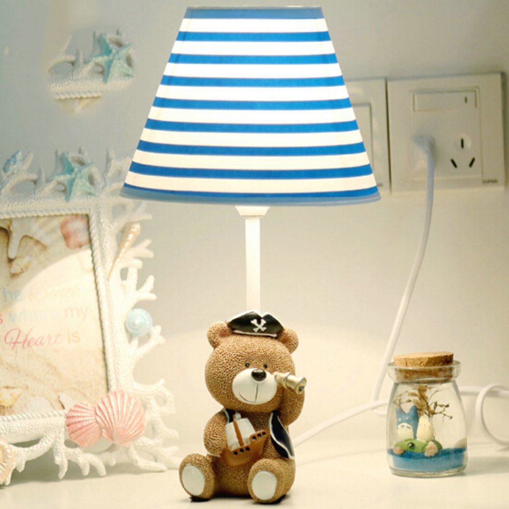 Children room captain bear modern table lamp kids wooden desk lamp children room captain bear modern table lamp kids wooden desk lamp e14 110v 220v reading led lamp switch button study lamps in desk lamps from lights geotapseo Choice Image