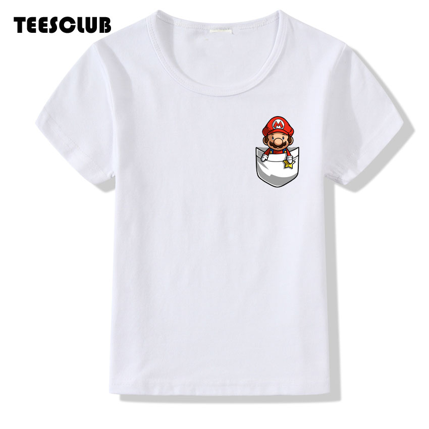 7d4e34af Aliexpress.com : Buy TEESCLUB Game Mario Cartoon T shirt Kid 2018 Fashion  Fake Pocket Design Summer Tops Baby Boys Girls Shirt Casual T shirt from  Reliable ...